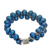 7-8Mm Cultured Freshwater Blue Pearl Sterling Silver Bracelet