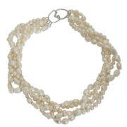 4-11Mm Cultured Freshwater Pearl Sterling Silver Multi Strand Necklace