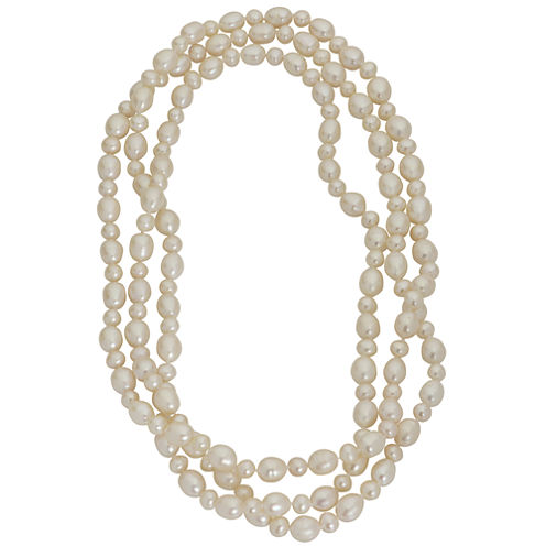 "60"" Cultured Freshwater Pearl Sterling Silver Endless Strand Necklace"