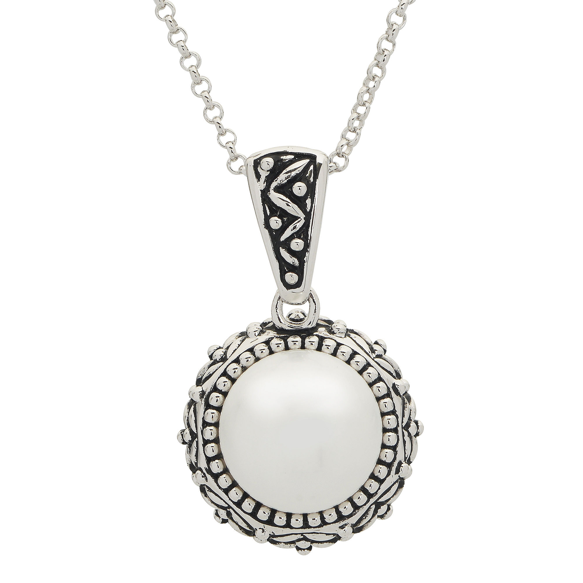 11.5-12Mm Cultured Freshwater Button Pearl Sterling Silver Pendant