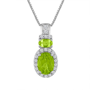 jcpenney.com | Genuine Peridot And Lab Created White Sapphire Sterling Silver Pendant
