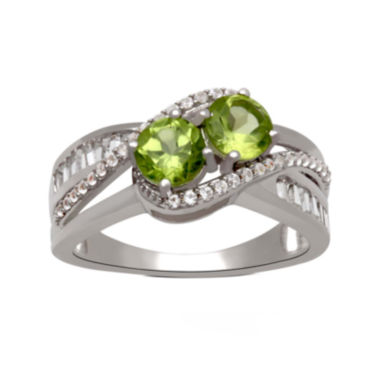 jcpenney.com | Genuine Peridot And Lab Created White Sapphire 2 Stone Ring In Sterling Silver