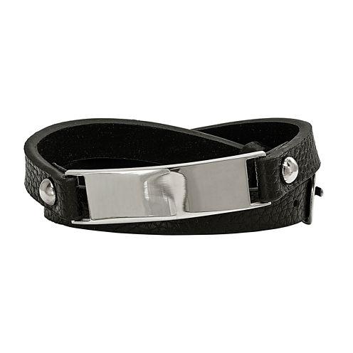 Mens Stainless Steel & Black Leather Wrap Bracelet