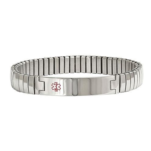 Mens Stainless Steel Medical Stretch Bracelet