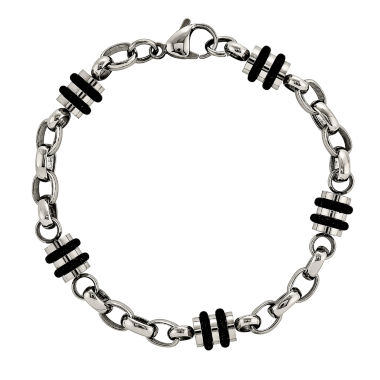 jcpenney.com | Mens Stainless Steel & Rubber Accent Chain Bracelet