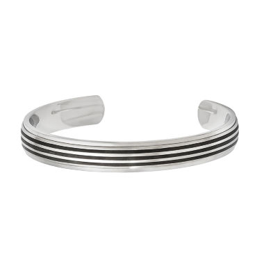 jcpenney.com | Mens Stainless Steel & Black Rubber Inlay Cuff Bracelet