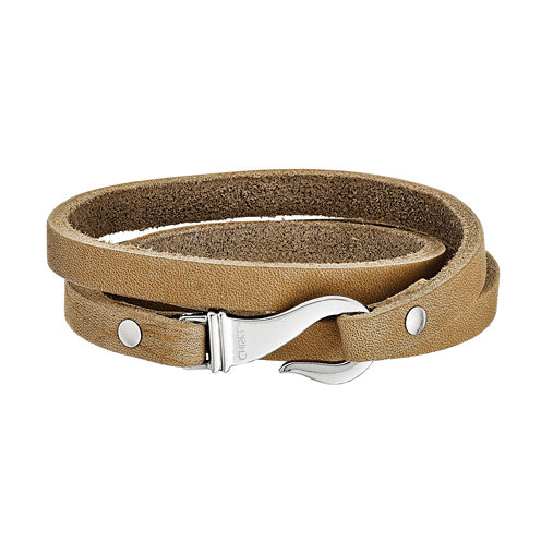 Mens Stainless Steel Brown Leather Wrap Bracelet