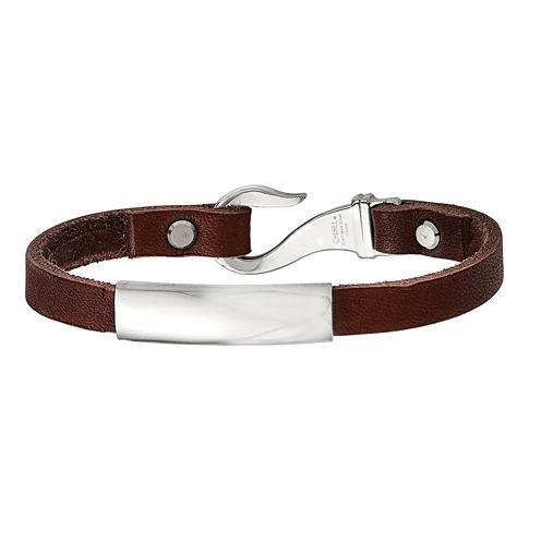 Mens Stainless Steel & Brown Leather ID Bracelet