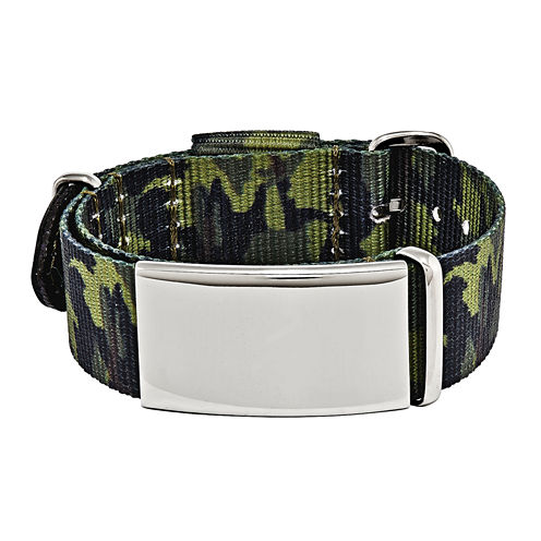 Mens Stainless Steel Green Camo Adjustable ID Bracelet