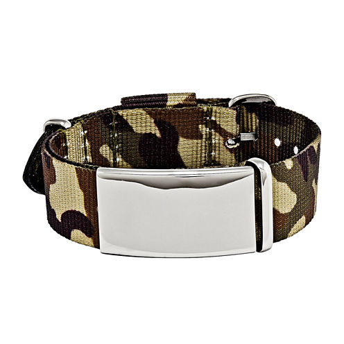 Mens Stainless Steel Brown Camo Adjustable ID Bracelet