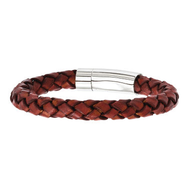 jcpenney.com | Mens Stainless Steel & Brown Leather Bracelet