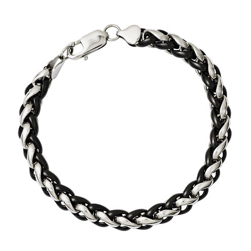 Mens Stainless Steel Black Ion-Plated Chain Bracelet