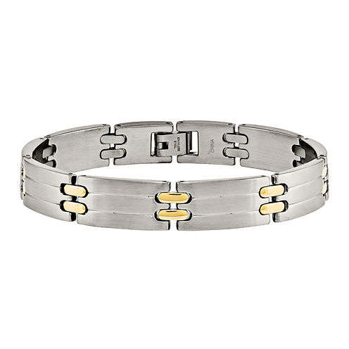 Mens Stainless Steel Yellow Ion-Plated Link Bracelet