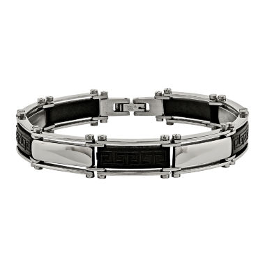 jcpenney.com | Mens Stainless Steel & Black Rubber Bracelet