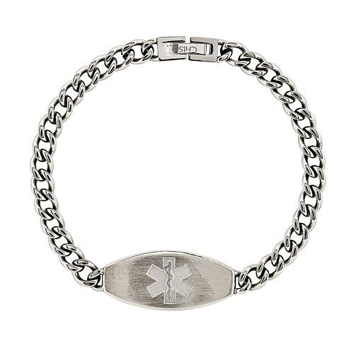 Mens Stainless Steel Medical ID Bracelet