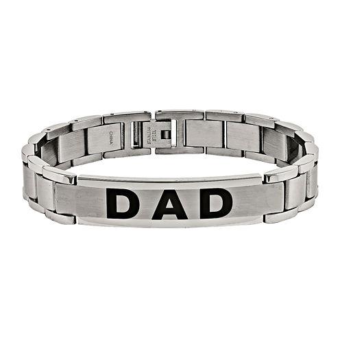 "Mens Stainless Steel ""Dad"" Link Bracelet"