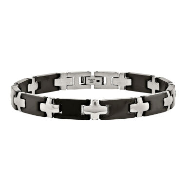jcpenney.com | Mens Stainless Steel Black Ion-Plated Cross Link Bracelet