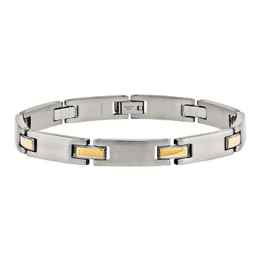 jcpenney.com | Mens Stainless Steel Yellow Ion-Plated Link Bracelet