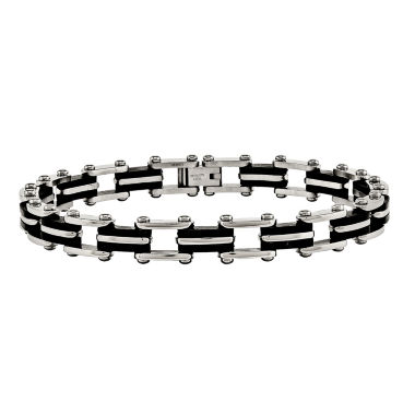 jcpenney.com | Mens Stainless Steel & Black Rubber Chain Bracelet