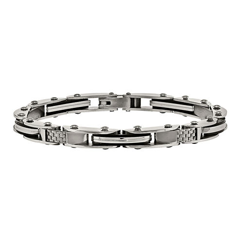 Mens Stainless Steel & Grey Carbon Fiber Link Bracelet