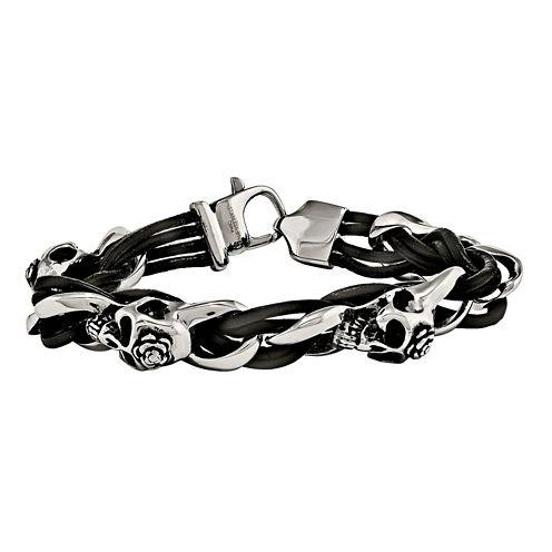 Mens Stainless Steel & Leather Skull & Roses Bracelet