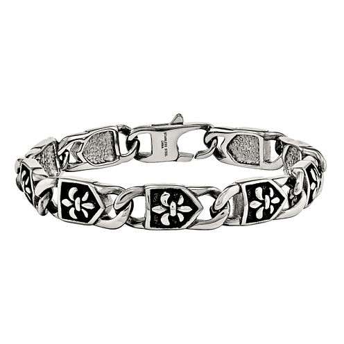 Mens Stainless Steel Antiqued Fleur De Lis Chain Bracelet
