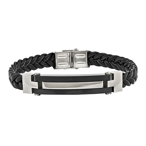 Mens Stainless Steel Black Ion-Plated & Black Leather Bracelet