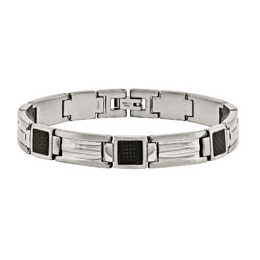 jcpenney.com | Mens Stainless Steel & Black Carbon Fiber Chain Bracelet