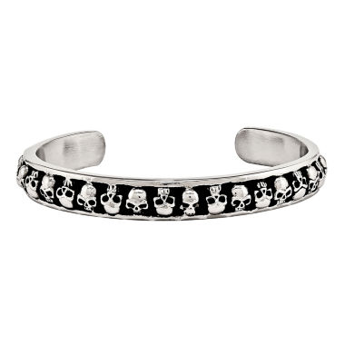 jcpenney.com | Mens Stainless Steel Antiqued Skull Cuff Bracelet
