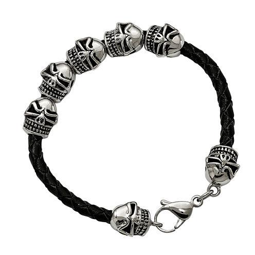 Mens Stainless Steel & Leather Antiqued Skull Bracelet