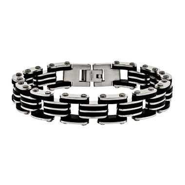 jcpenney.com | Mens Stainless Steel & Black Rubber Link Bracelet