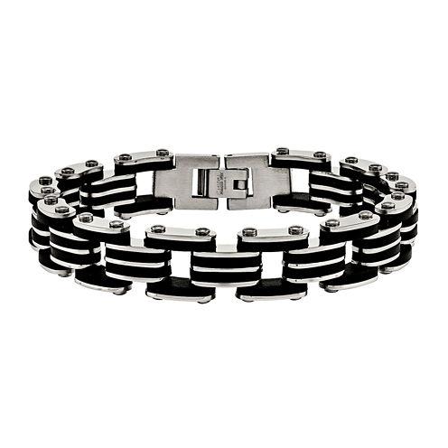 Mens Stainless Steel & Black Rubber Link Bracelet