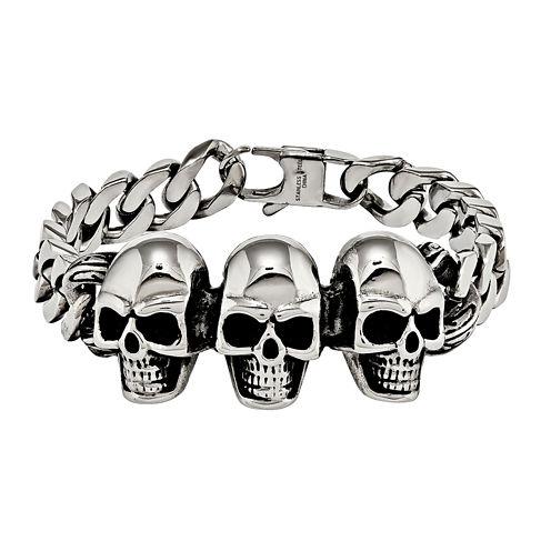 Mens Stainless Steel Antiqued Skull Chain Bracelet
