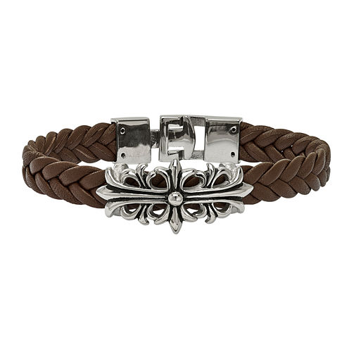 Mens Stainless Steel & Brown Leather Filigree Bracelet
