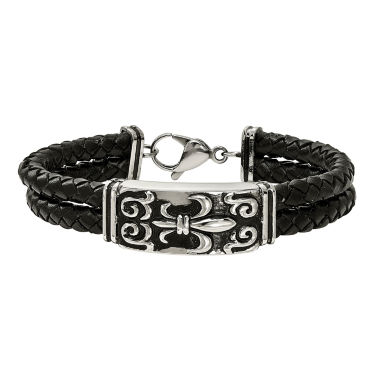 jcpenney.com | Mens Stainless Steel & Black Leather Antiqued Fleur De Lis Bracelet