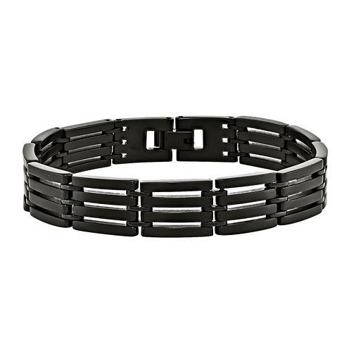 Mens Stainless Steel Black-Plated Bracelet