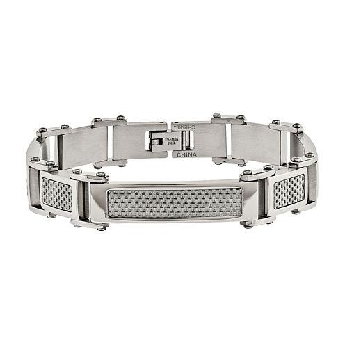 Mens Stainless Steel & Grey Carbon Fiber Link Bracelet