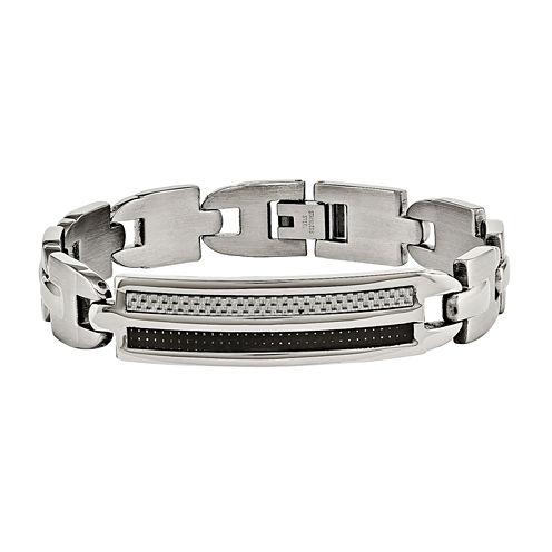 Mens Stainless Steel Black & Grey Carbon Fiber Link Bracelet