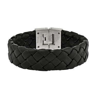 jcpenney.com | Mens Stainless Steel & Black Leather Chain Bracelet