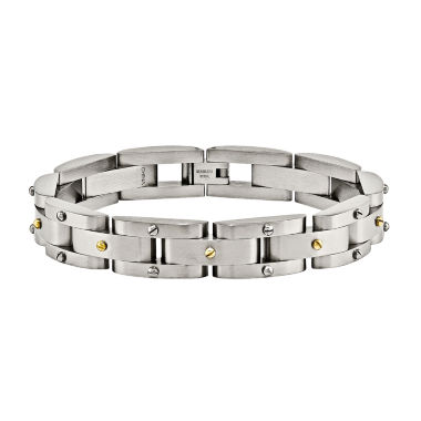 jcpenney.com | Mens Stainless Steel Yellow Ip-Plated Chain Bracelet
