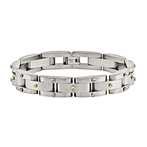 Mens Stainless Steel Yellow Ip-Plated Chain Bracelet