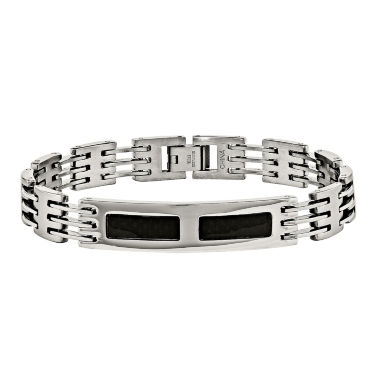 jcpenney.com | Mens Stainless Steel & Black Carbon Fiber Id Bracelet