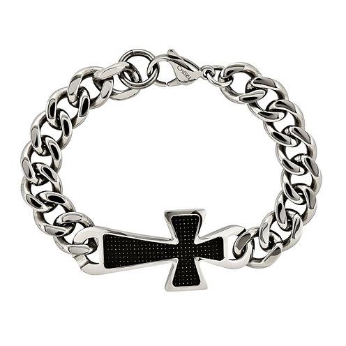 Mens Stainless Steel & Black Carbon Fiber Cross Chain Bracelet