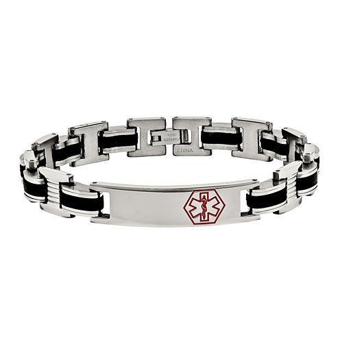 Mens Stainless Steel & Black Rubber Medical Chain Bracelet