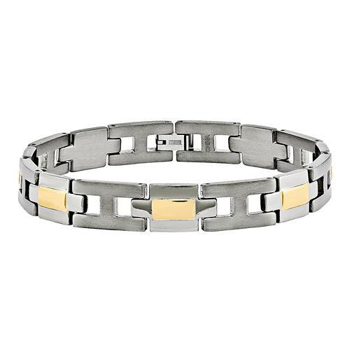 Mens Titanium Yellow Ip-Plated Chain Bracelet