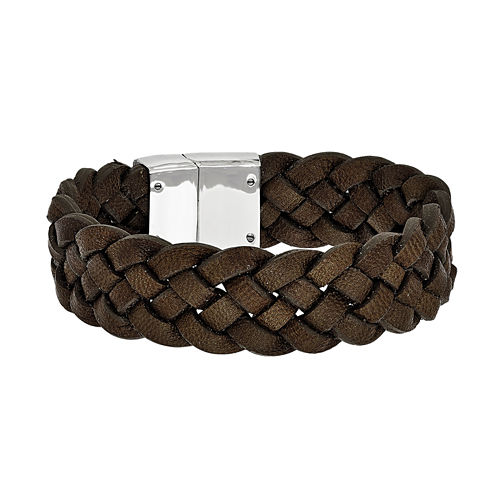 Mens Stainless Steel Brown Leather Bracelet