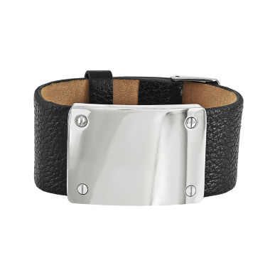 jcpenney.com | Mens Stainless Steel Leather Bracelet