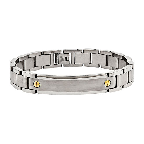 Mens Stainless Steel Yellow Ip-Plated Id Bracelet