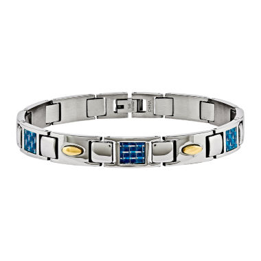 jcpenney.com | Mens Stainless Steel & Blue Carbon Fiber Chain Bracelet