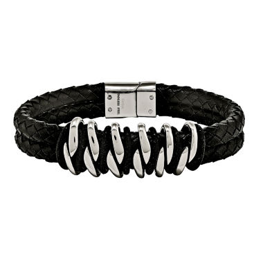jcpenney.com | Mens Stainless Steel Black Rubber & Leather Bracelet